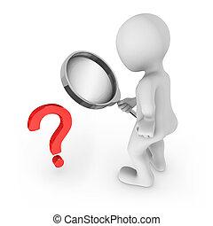 pergunta, símbolo., vidro, olha, homem, magnificar, vermelho, 3d