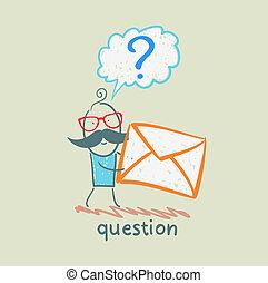pergunta, segura,  envelope, homem, marca