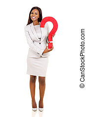 pergunta, segurando, executiva, americano, jovem, marca, africano