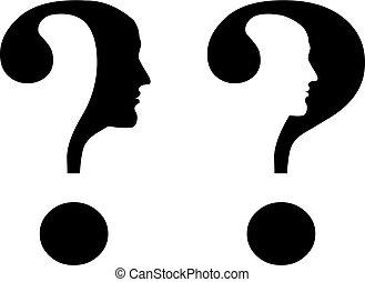 pergunta, silueta, marca