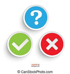pergunta, sim, não, redondo, ícones