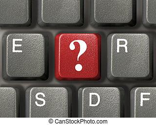 pergunta, tecla, teclado