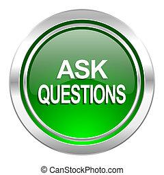 perguntar, ícone, botão, verde, perguntas