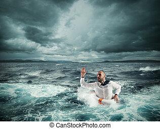 perguntar, para, ajuda, durante, a, tempestade