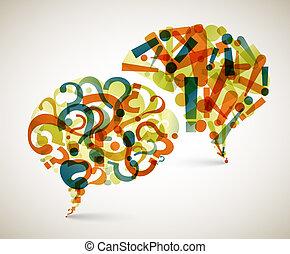 perguntas, abstratos, -, respostas, ilustração