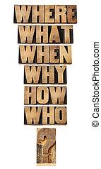 perguntas, colagem, em, madeira, tipo