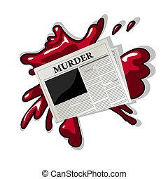 periódico, asesinato, icono