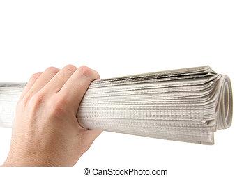 periódico, asimiento, mano