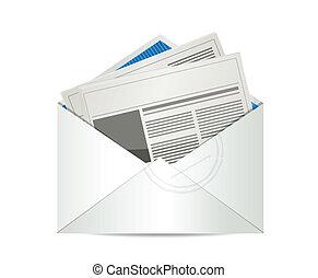 periódico, correo, diseño, ilustración