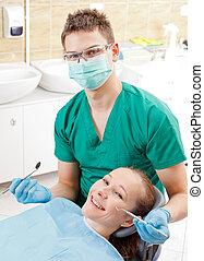 periódico, dental, investigación