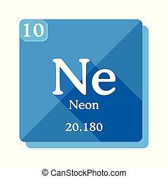 periódico, element., neón, químico, tabla, elements.