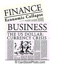 periódico, fictitious, económico