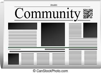 periódico, -, idaho, comunidad