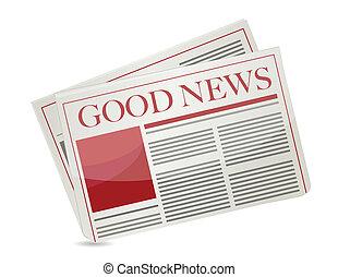 periódico, noticias, bueno, ilustración