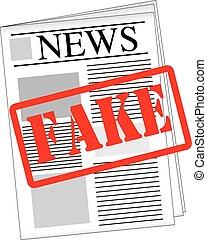 periódico, noticias, falsificación