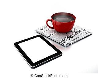 periódico, pc, taza para café, tableta