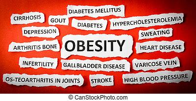 periódico, rasgado, obesidad, concepto