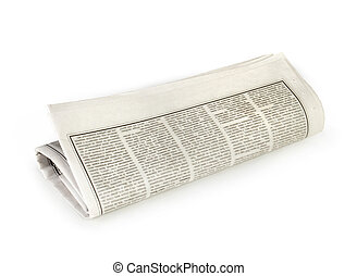 periódico rodado, aislado, arriba