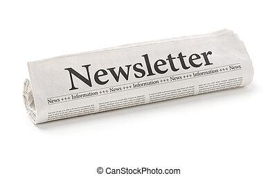 periódico rodado, con, el, titular, newsletter
