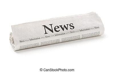 periódico rodado, con, el, titular, noticias