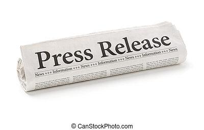 periódico rodado, con, el, titular, prensa, liberación
