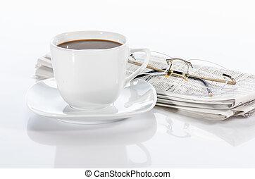 periódico, taza, anteojos, café