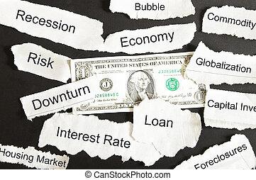 periódico, titulares, dólar, negativo, nosotros