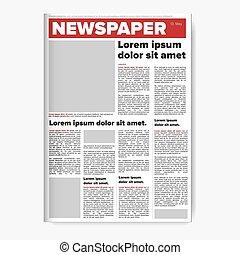 periódico, vector, disposición