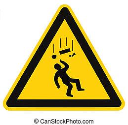 pericolo, cadere, oggetti, simbolo di avvertenza, isolato,...