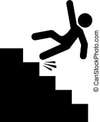 pericolo, cadere, vettore, scale, icona