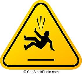 pericolo, cadere, vettore, segno