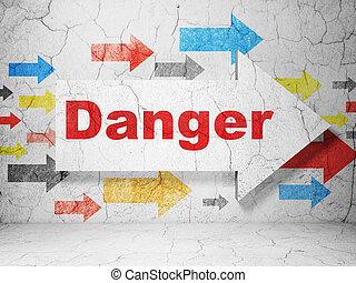 pericolo, concept:, fondo, sicurezza, grunge, parete, freccia