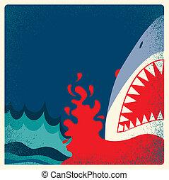 pericolo, fondo, poster., vettore, squalo, mascelle
