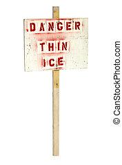 pericolo, isolato, ghiaccio, segno, magro, fondo, bianco