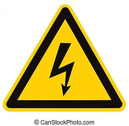pericolo, macro, isolato, segno pericolo, alto, elettrico, tensione