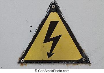 pericolo, segno., attenzione, giallo, avvertimento, nero