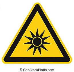 pericolo, testo, adesivo, segno, avvertimento, attenzione, radiazione, isolato, artificiale, giallo, sicurezza, nero, sopra, triangolo, azzardo, simbolo, trave, ottico, etichetta, icona, luce, grande, macro, closeup