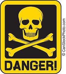 pericolo, vettore, cranio, segno