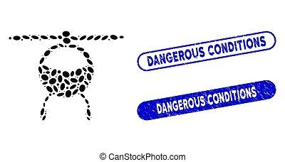 pericoloso, ellittico, collage, selettore rotante, elicottero, textured, sigilli, condizioni