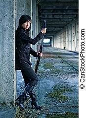 pericoloso, ragazza, asiatico