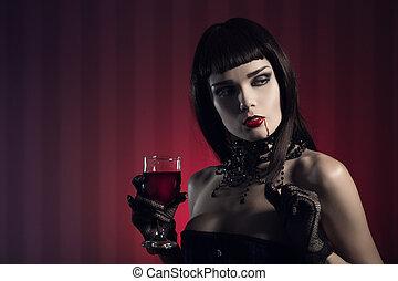 pericoloso, sexy, vampiro, ragazza, con, vetro vino, o, sangue