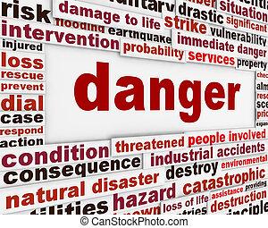 perigo, aviso, mensagem, fundo