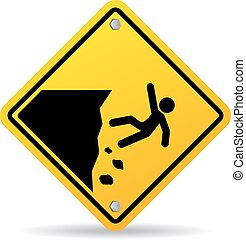 perigo, borda, sinal aviso, penhasco