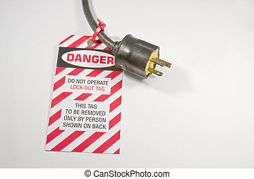 perigo, fechadura, tag, saída