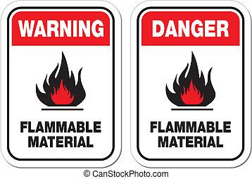 perigo, material, inflamável, sinais