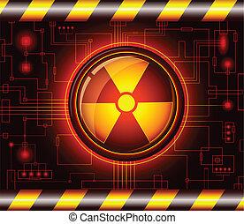perigo, radiação, sinal, botão