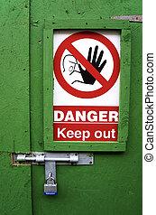 perigo, saída, sinal, mantenha