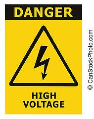 perigo, sinal voltagem alto, com, texto, isolado