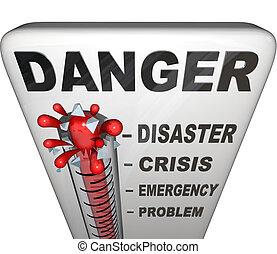 perigo, termômetro, medindo, níveis, de, emergência