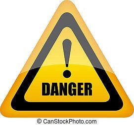 perigo, vetorial, sinal